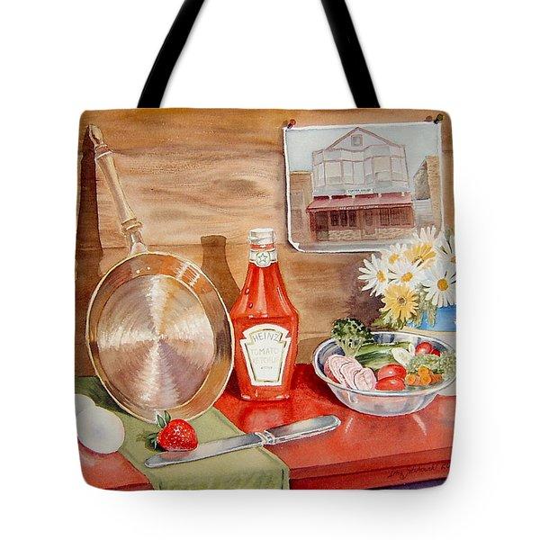 Breakfast At Copper Skillet Tote Bag by Irina Sztukowski