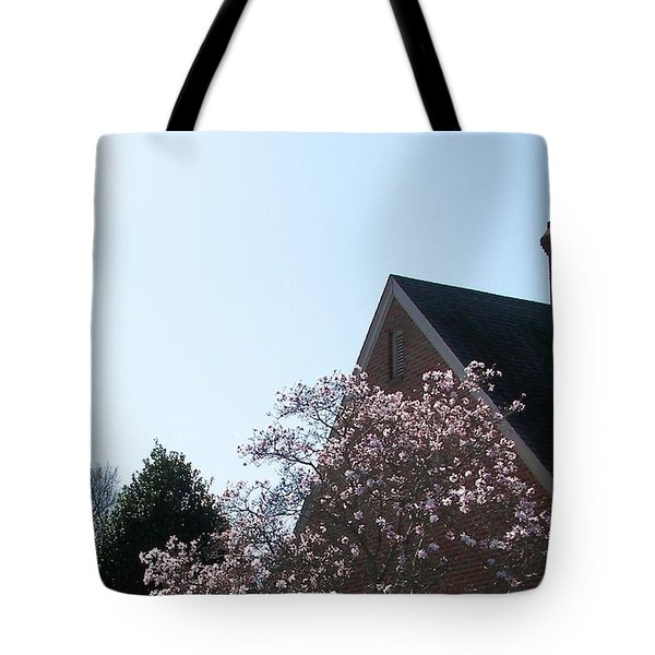 Tote Bag featuring the photograph Brick And Blossom by Pamela Hyde Wilson