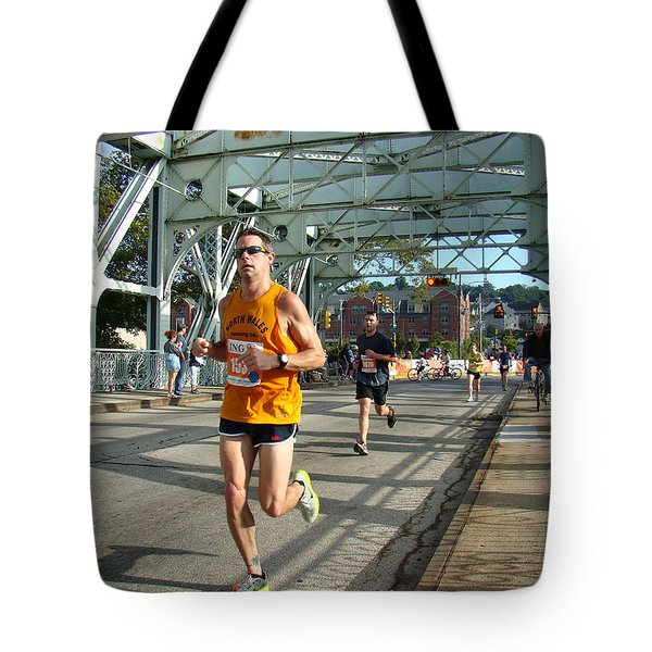 Tote Bag featuring the photograph Bridge Runner by Alice Gipson