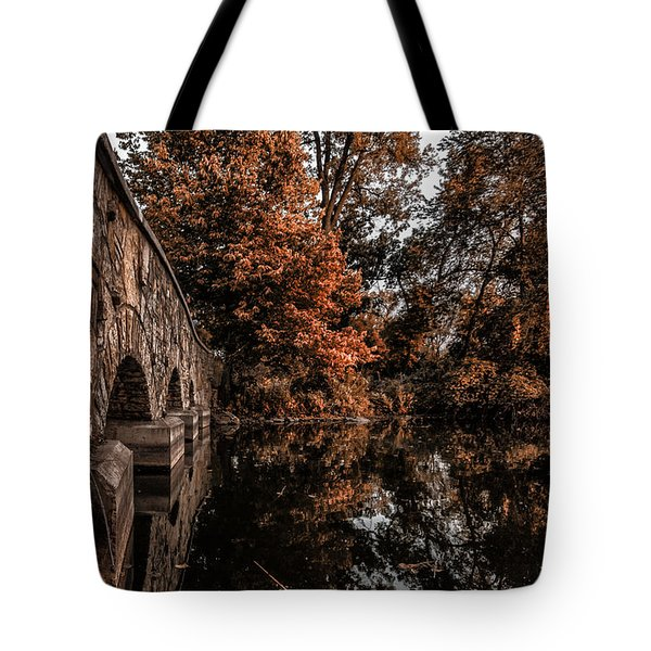 Tote Bag featuring the photograph Bridge To Autumn by Tom Gort