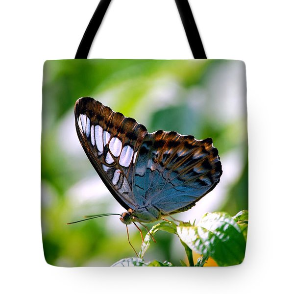 Tote Bag featuring the photograph Bright Blue Butterfly by Peggy Franz