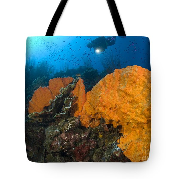 Bright Orange Sponge With Diver Tote Bag by Steve Jones