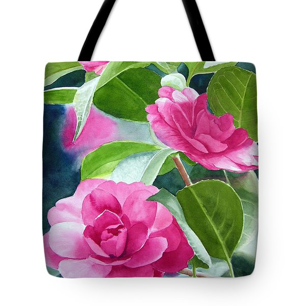 Bright Rose-colored Camellias Tote Bag by Sharon Freeman