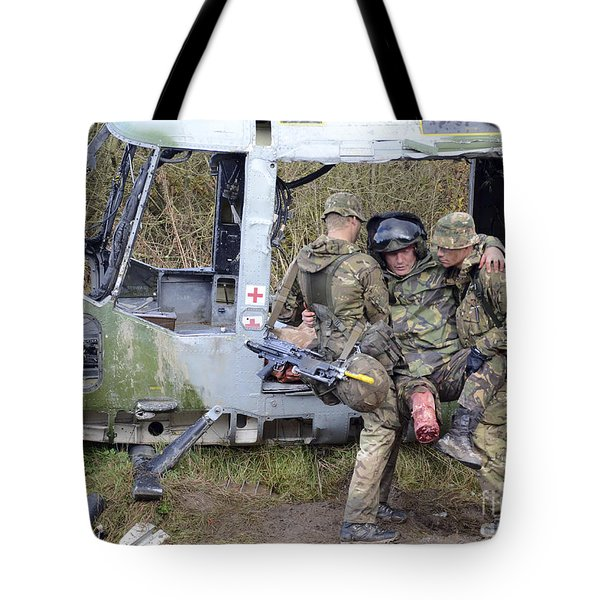 British Soldiers Help A Simulated Tote Bag by Andrew Chittock