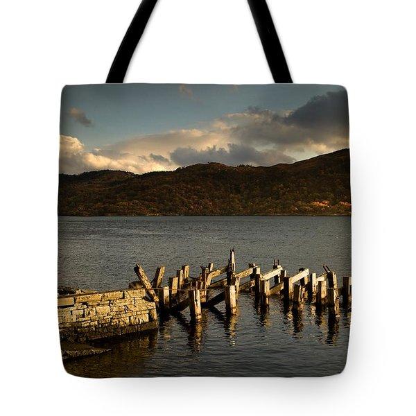 Broken Dock, Loch Sunart, Scotland Tote Bag by John Short