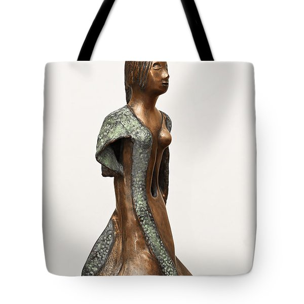 Bronze Hollow Lady In Gown Right View 2 Sculpture In Bronze And Copper Green Long Hair  Tote Bag by Rachel Hershkovitz