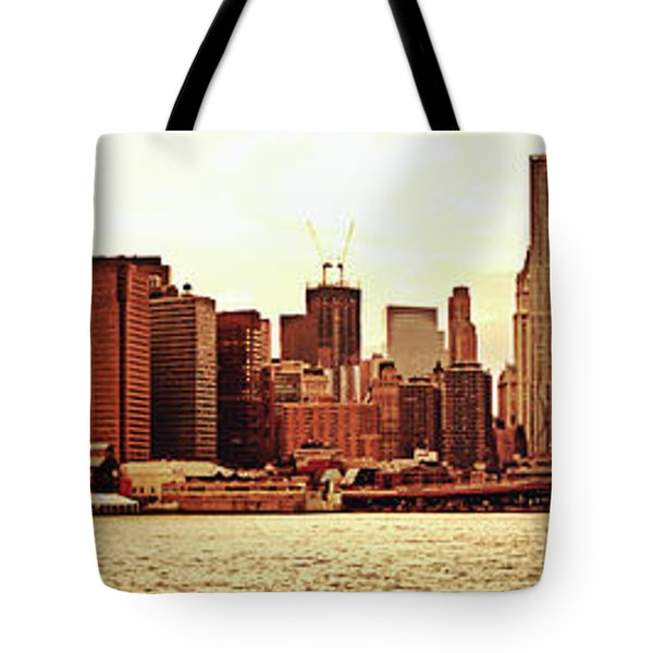 Brooklyn Bridge And New York City Skyline Panorama Tote Bag by Vivienne Gucwa