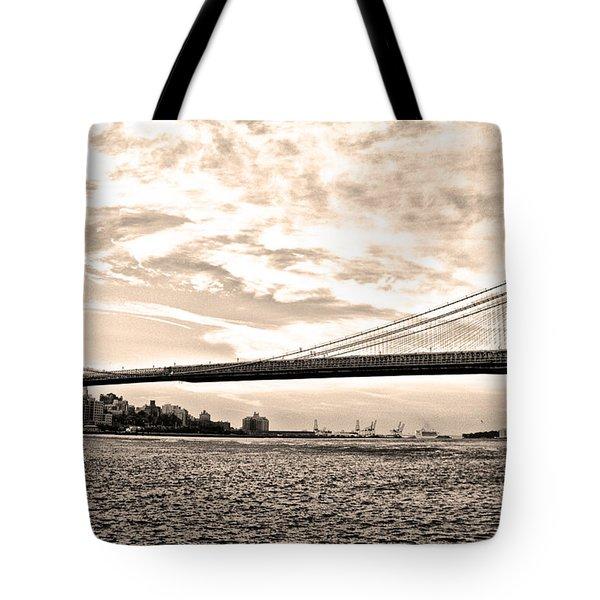 Brooklyn Bridge In Sepia Tote Bag by Bill Cannon