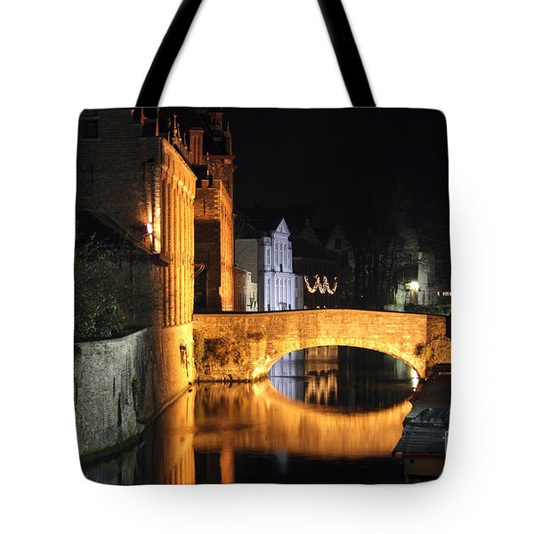 Tote Bag featuring the photograph Bruge Night by Milena Boeva