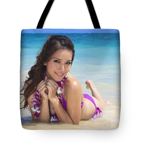 Brunette On Beach Tote Bag by Tomas del Amo