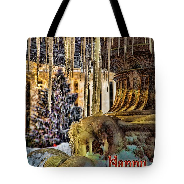 Bryant Park Fountain Holiday Tote Bag by Chris Lord