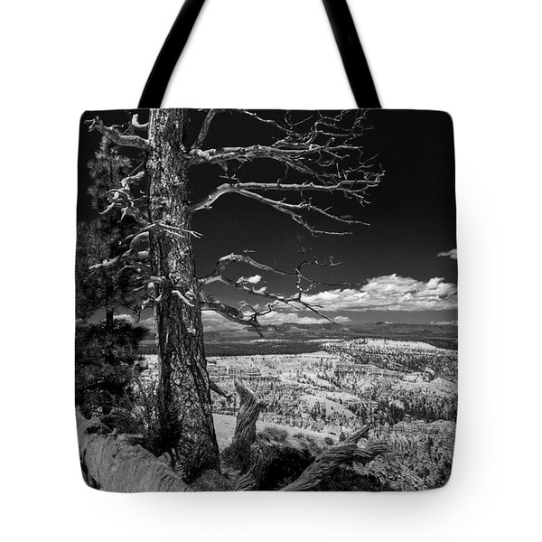 Bryce Canyon - Dead Tree Black And White Tote Bag