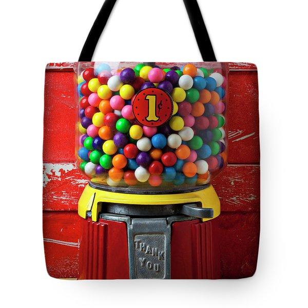 Bubblegum Machine And Gum Tote Bag by Garry Gay