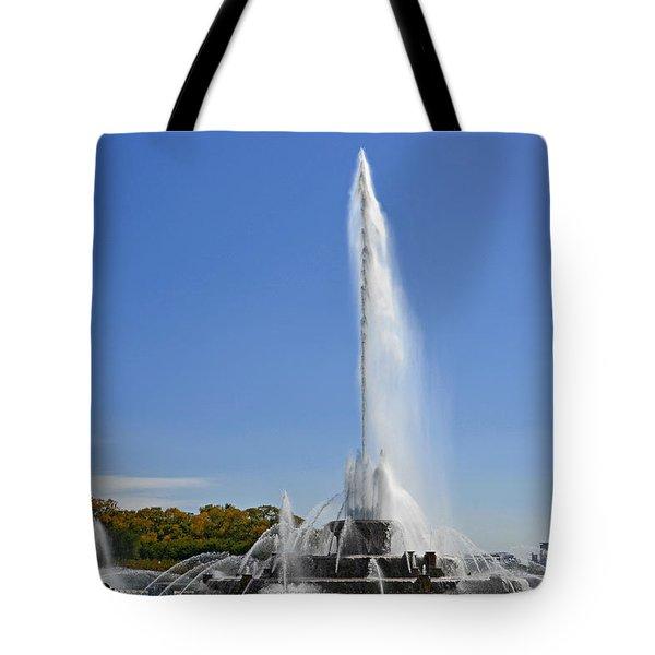 Buckingham Fountain - Chicago's Iconic Landmark Tote Bag by Christine Till