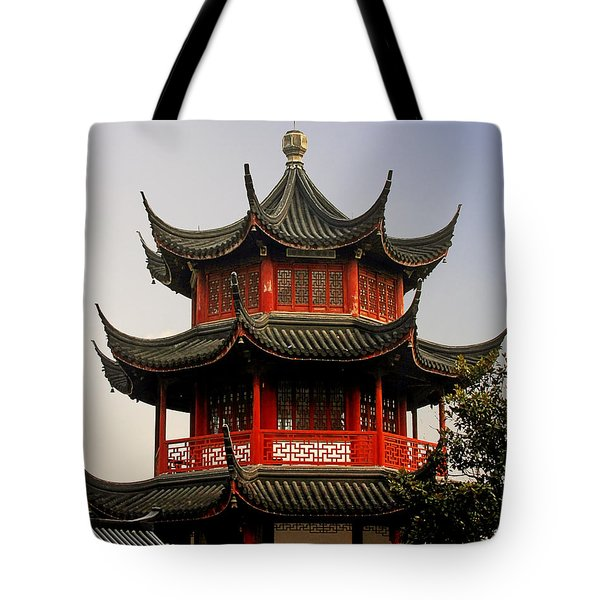 Buddhist Pagoda - Shanghai China Tote Bag by Christine Till