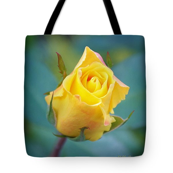 Budding Yellow Rose Tote Bag by Mikki Cucuzzo