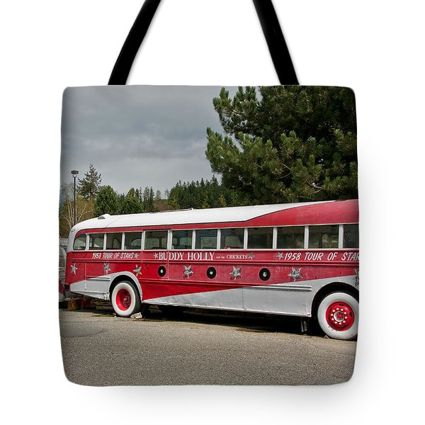 Tote Bag featuring the photograph Buddy Holly 1958 Tour Of Stars Bus Art Prints by Valerie Garner