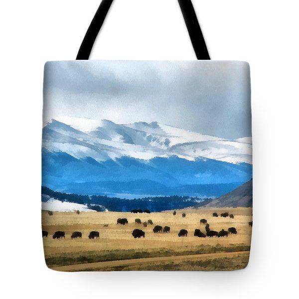 Buffalo Herd Painterly Tote Bag by Ernie Echols