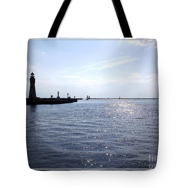 Buffalo Main Lighthouse And Buffalo Harbor Tote Bag by Rose Santuci-Sofranko