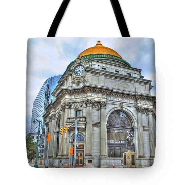 Tote Bag featuring the photograph Buffalo Savings Bank  Goldome  M And T Bank Branch by Michael Frank Jr