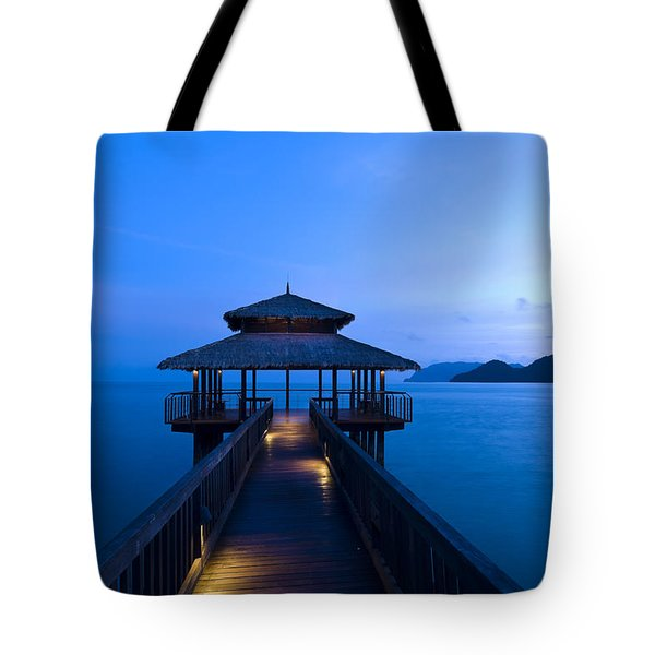 Building At The End Of A Jetty During Twilight Tote Bag