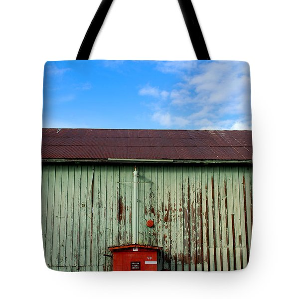 Tote Bag featuring the photograph Building Series - Red Shack by Kathleen Grace