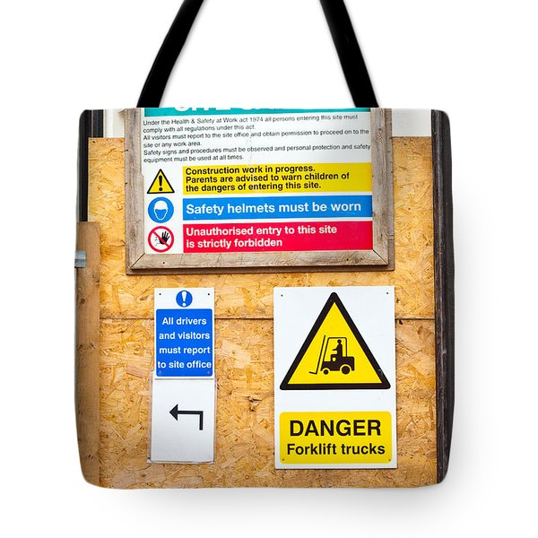 Building Site Signs Tote Bag by Tom Gowanlock