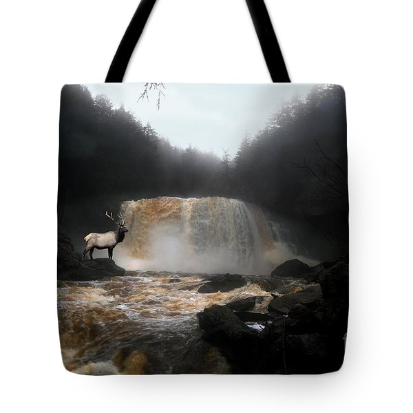 Tote Bag featuring the photograph Bull Elk In Front Of Waterfall by Dan Friend