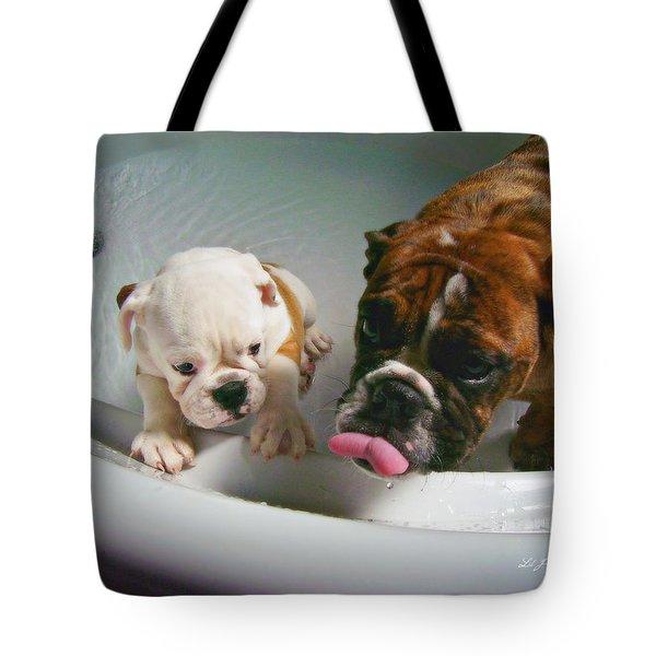 Bulldog Bath Time II Tote Bag by Jeanette C Landstrom