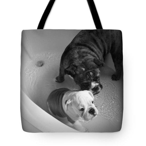 Bulldog Bath Time Tote Bag by Jeanette C Landstrom