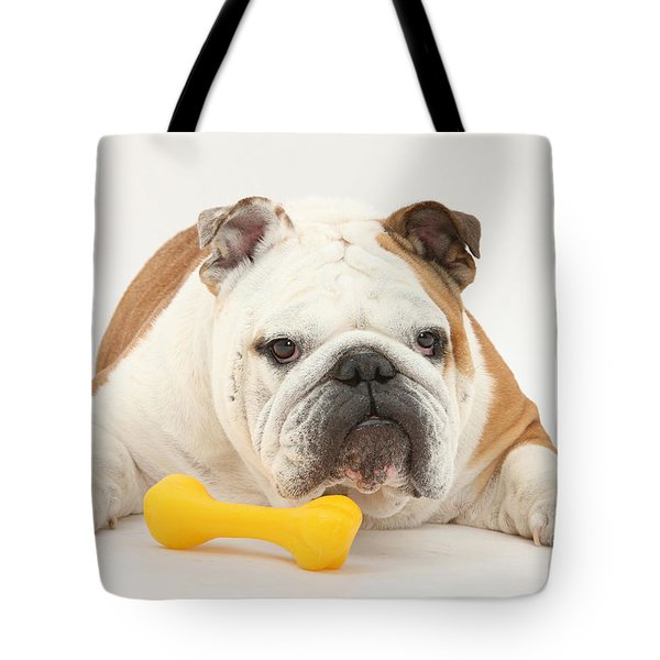 Bulldog With Plastic Chew Toy Tote Bag by Mark Taylor