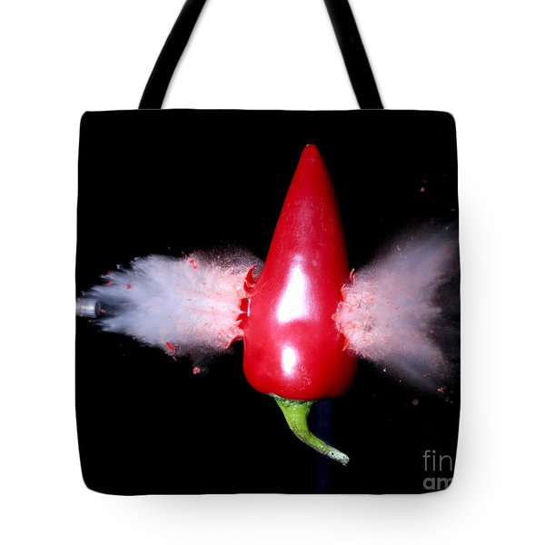 Bullet Hitting A Hot Pepper Tote Bag by Ted Kinsman