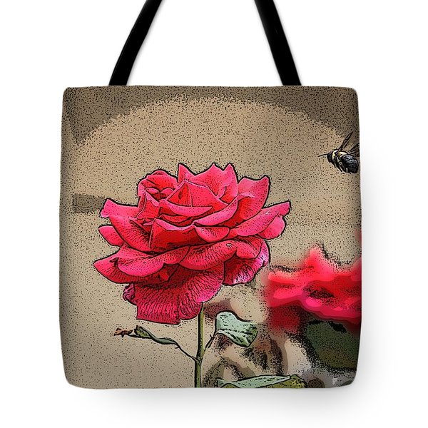 Bumble Bee And Rose Tote Bag