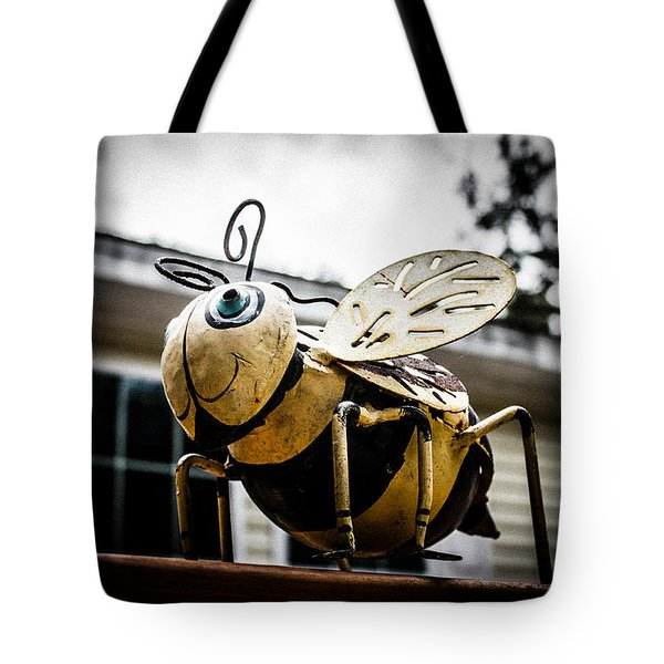 Bumble Bee Of Happiness Metal Statue Tote Bag