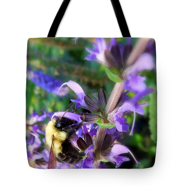 Bumble Bee On Flower Tote Bag by Renee Trenholm