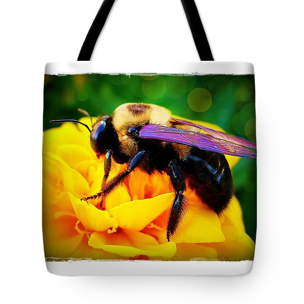 Bumblebee With Bokeh Tote Bag by Judi Bagwell
