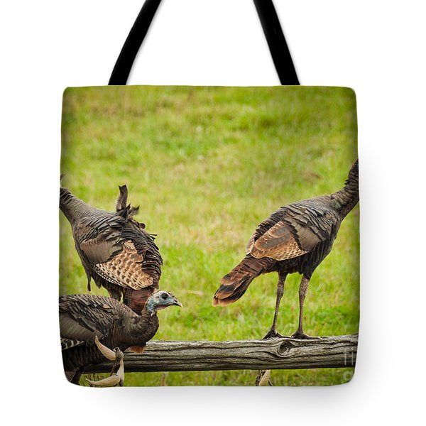 Tote Bag featuring the photograph Bunch Of Turkeys by Cheryl Baxter