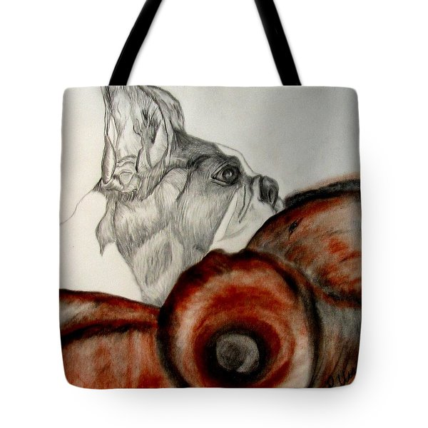 Tote Bag featuring the drawing Bundled In Blankets by Maria Urso