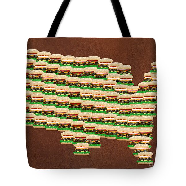 Burger Town Usa Map Brown Tote Bag by Andee Design