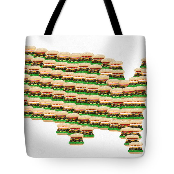 Burger Town Usa Map White Tote Bag by Andee Design