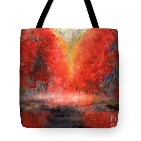 Burning Lake Tote Bag by Yoshiko Mishina