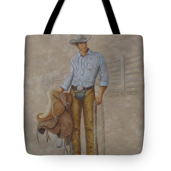 Tote Bag featuring the painting Busted Bronc Rider by Phyllis Howard