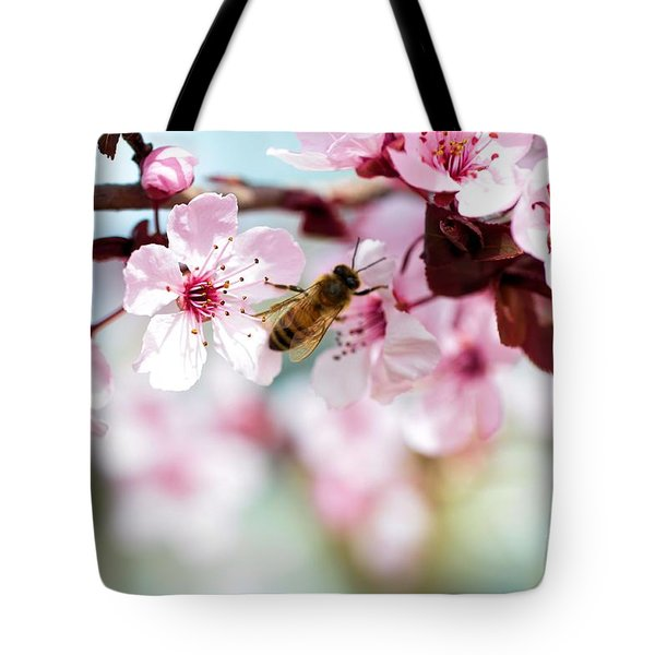 Busy Buzzing Around These Beautiful Blooms... Tote Bag