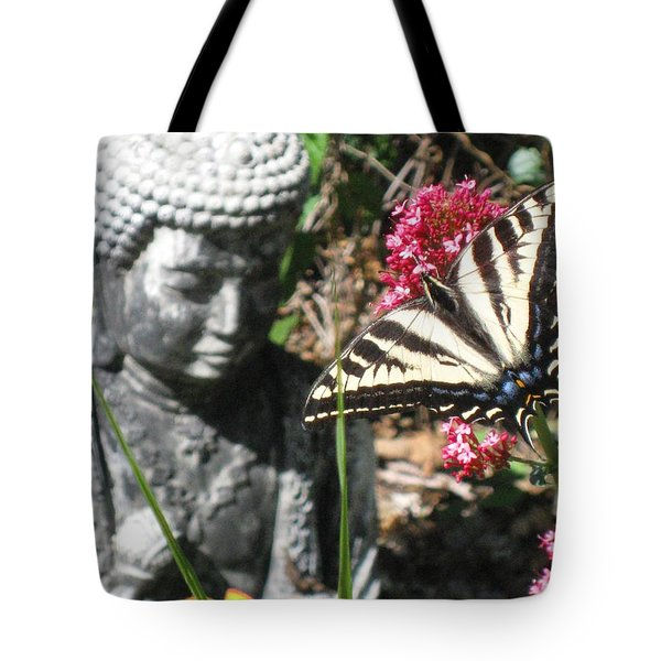 Tote Bag featuring the photograph Butterfly And Buddha by Sue Halstenberg
