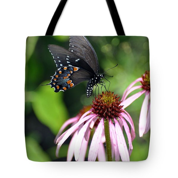Butterfly And Coine Flower Tote Bag by Marty Koch