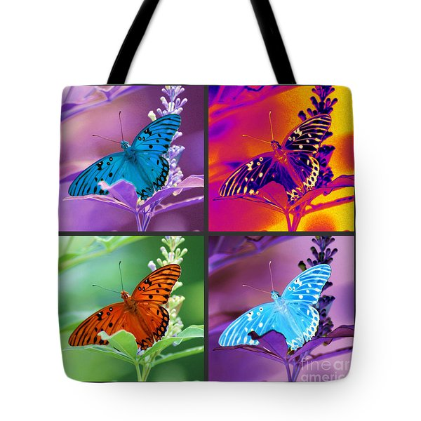 Tote Bag featuring the photograph Butterfly Collage by Donna Bentley