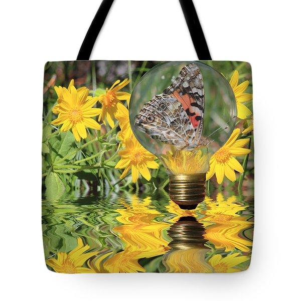 Butterfly In A Bulb II - Landscape Tote Bag
