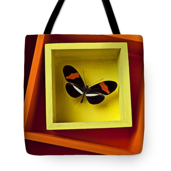 Butterfly In Box Tote Bag by Garry Gay