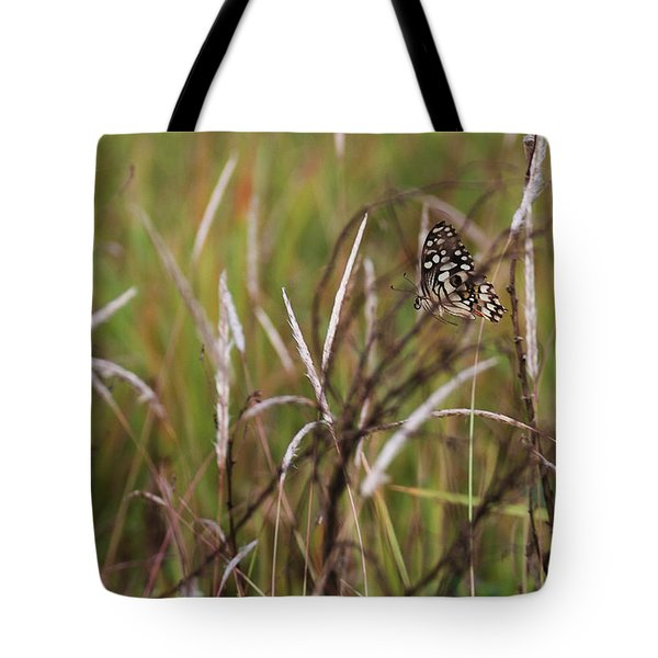 Tote Bag featuring the photograph Butterfly In Flight by Fotosas Photography