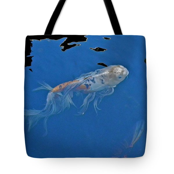 Butterfly Koi In Blue Sky Reflection Tote Bag by Kirsten Giving